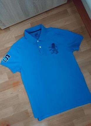 Синяя футболка поло мужская