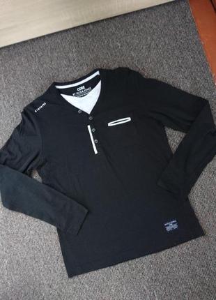 Кофта футболка с длиным рукавом черная мужская