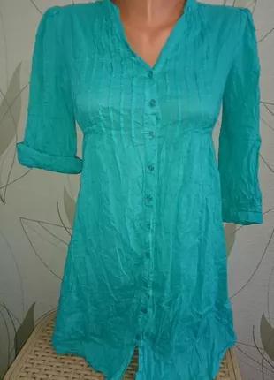 Классная рубашка платье бирюзового цвета