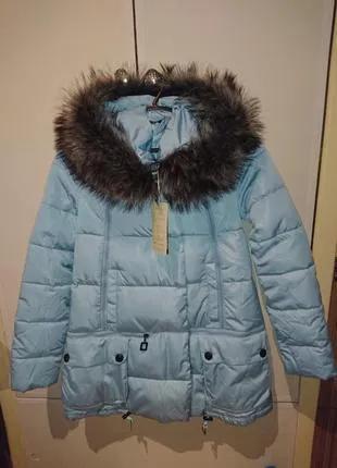 Курточка пуховик голубого цвета