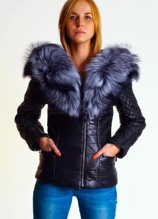 Кожанная стеганая куртка с мехом чернобурки