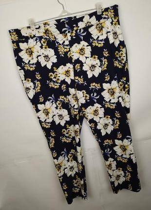 Брюки штаны стильные стрейчевые плотные зауженные в цветы f&f ...