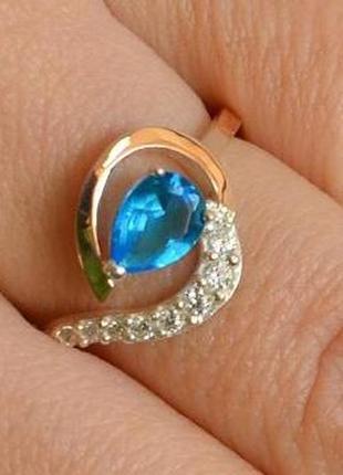 Кольцо серебряное с золотыми вставками 164к