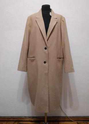 Стильное базовое шерстяное пальто большого размера