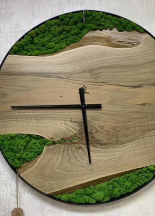 Эксклюзивные настенные часы Ø80см Орех с мхом StarWood