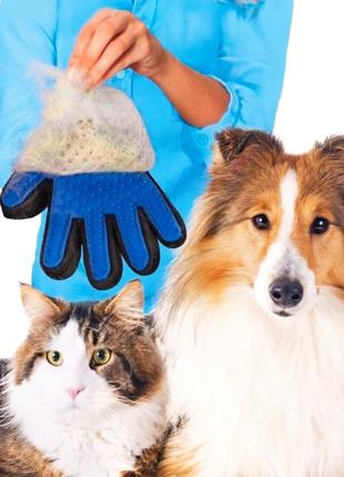 Щетка перчатка для вычесывания  шерсти животных: кошек и собак