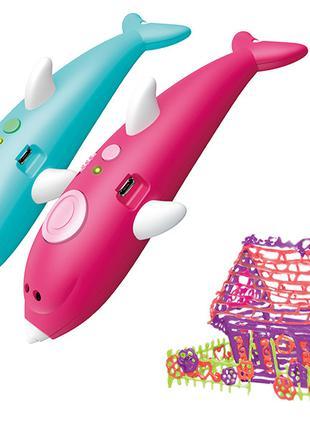 Ручка 3D аккумуляторная с трафаретом K9902 черная/розовая, 8 к...