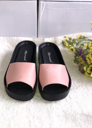 Розовые шлепанцы, сабо из натуральной кожи