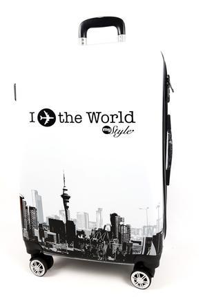 Маленький чемодан на колесах, с 3D I planet the world 40 л