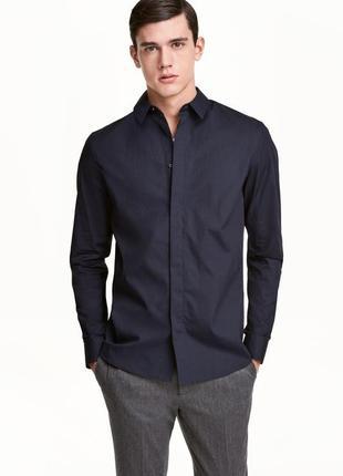 Хлопковая рубашка h&m , slim fit !