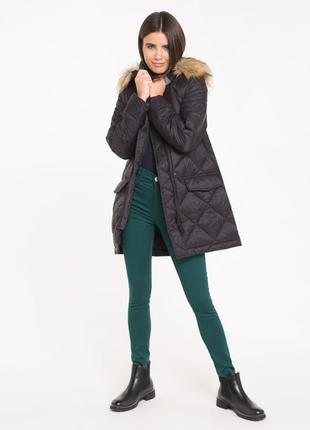 Новая женская демисезонная чёрная тёплая куртка с капюшоном