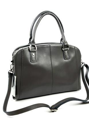 Женская серая кожаная сумка