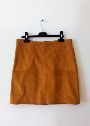 Актуальная велюровая юбка цвета горчицы