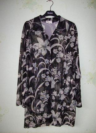 Длинная блуза, туника на пуговицах, сетка, большой размер