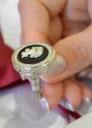 Кольцо георгий победоносец из серебра с ониксом