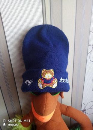 Теплая шапка унисекс 12/36мес с завышенной макушкой