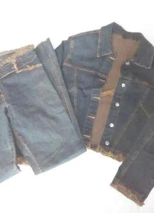 Джинсовый костюм пиджак джинсы женские
