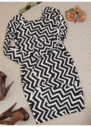 Платье футляр с вырезом на спине, принт h&m