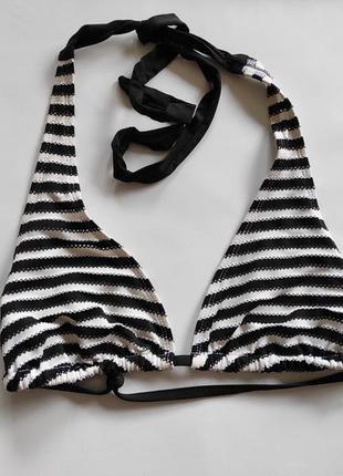 Верх от купальника в полоску чёрная белая драпировка текстурна...