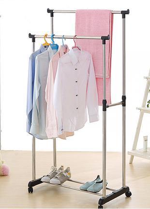 Двойная телескопическая вешалка стойка для одежды напольная Do...
