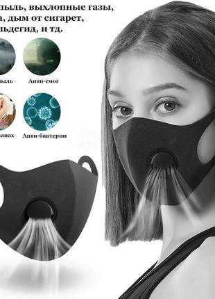 Многоразовая питта-маска, черная с клапаном