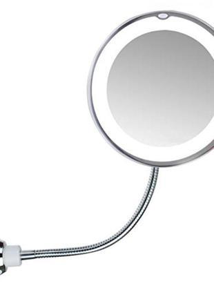 Гибкое зеркало на присоске с подсветкой с 10х увеличением Ultr...