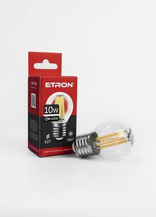 LED лампа ETRON Filament 1-EFP-156 G45 E27 10W 4200K clear glass