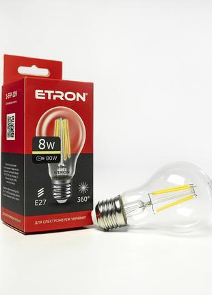 LED лампа ETRON Filament 1-EFP-109 A60 8W 3000K E27 прозора