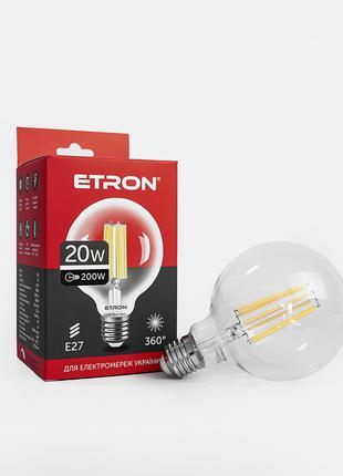 LED лампа ETRON Filament 1-EFP-172 G95 E27 20W 4200K clear glass