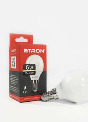 LED лампа ETRON Light 1-ELP-047 G45 6W 3000K 220V E14