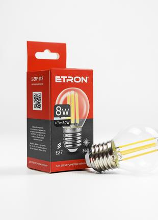 LED лампа ETRON Filament 1-EFP-142 G45 E27 8W 4200K прозора