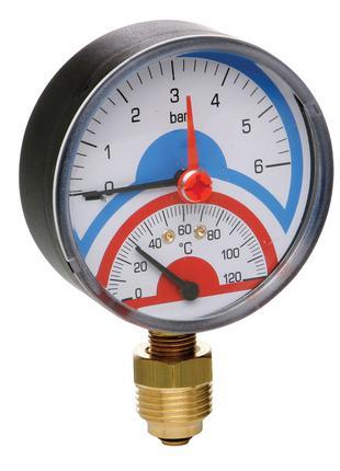 """Термоманометр Icma 1/2"""" 0-4 бар, нижнє підключення №258"""