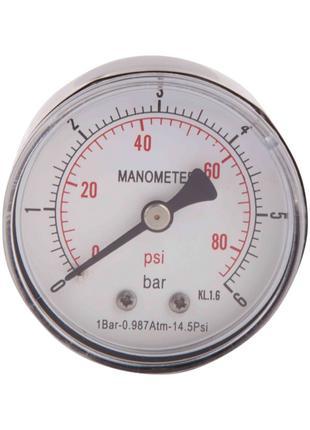 """Манометр SD Plus 6 бар 1/4"""" , заднє підмикання"""