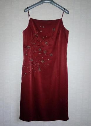 Вечернее коктейльное платье вышивка бисер