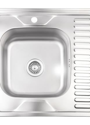 Кухонна мийка Lidz 6060-L Decor 0,8 мм (LIDZ6060LDEC08)