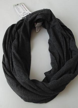 Серый шарф снуд хомут трикотаж terranova италия