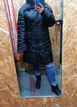 Длинная демисезонная черная куртка италия rinascimento (к070)