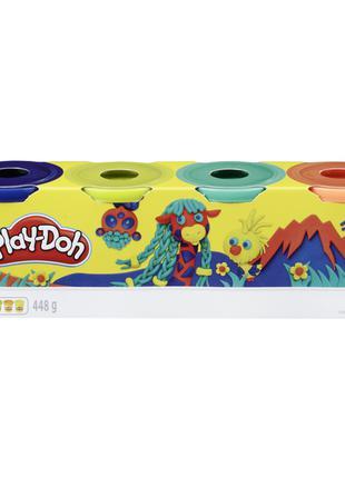 Play-Doh Набор из 4 баночки (т.синий, лимонный,зеленый,оранжев...