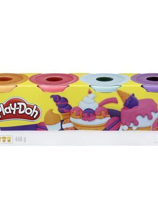 Play-Doh Набор из 4 баночек, (фиолетовый, голубой, розовый, ор...