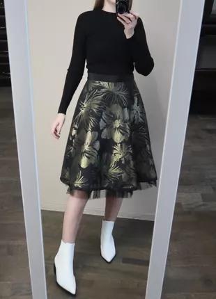 Миди юбка с фатином по низу
