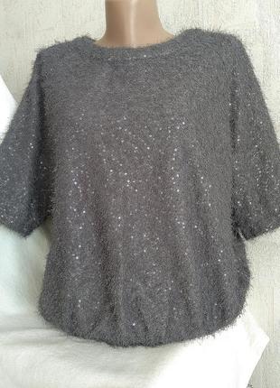 """Блуза кофточка из трикотажного полотна """"травка"""" с пайетками ра..."""
