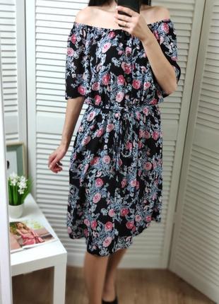 Платье на плечи в цветочный принт evans иммитация рубашки, p-p...