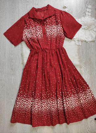 Красное миди платье с принтом белым воротником юбкой плиссе пл...