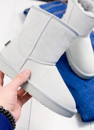 ❤ женские серые зимние замшевые угги ботинки сапоги ботильоны ...