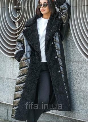 . Длинное женское зимнее пальто с мехом