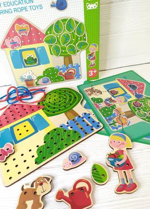 """Деревянная игра """"Шнуровка"""" К 17549 от 1 года, Игрушки для дете..."""