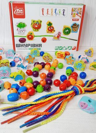 Развивающая деревянная игрушка Шнуровка, 79437, для детей от 3...
