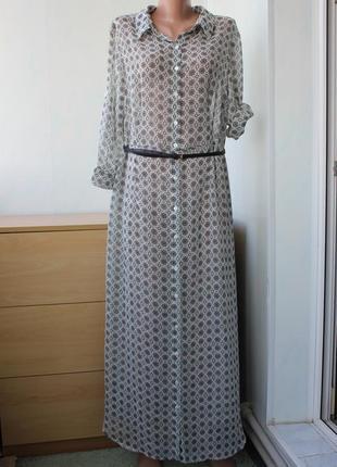 Шифоновое платье -рубашка в пол
