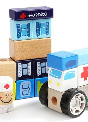 Конструктор деревянный Больница, 150137, для детей от 1 года, ...