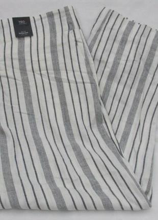 Льняные укороченные штаны с высокой талией marks & spencer